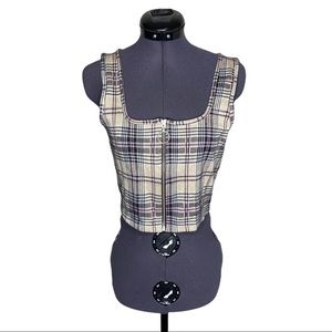 Hollister Checkered Plaid Zip Front O Ring Fitted Skimming Cropped Tank Top S